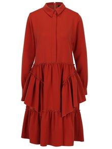 Červené šaty s volánmi BLUZAT