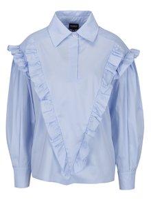 Světle modrá dámská oversize košile s volány Bluzat