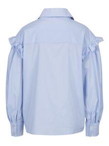 Svetlomodrá dámska oversize košeľa s volánmi BLUZAT
