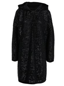 Černé mikinové oversize šaty s flitry a kapucí Bluzat