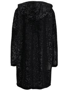 Čierne mikinové oversize šaty s flitrami a kapucňou BLUZAT