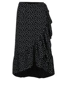 Černá puntíkovaná zavinovací midi sukně VILA Micka