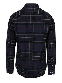 Tmavomodrá károvaná tailored fit košeľa Barbour Lustleigh