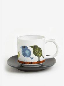 Bílý hrnek s potiskem a černým podšálkem Magpie Family of Birds Coffee Cup & Saucer Family
