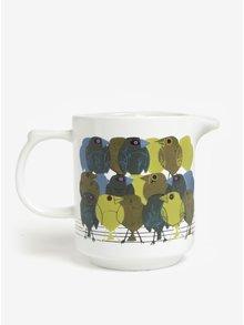 Bílý džbán na mléko s motivem ptačí rodin Magpie Family of Birds
