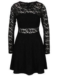 Čierne čipkované šaty s dlhým rukávom TALLY WEiJL