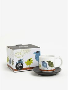 Biely hrnček na espresso s potlačou a podšálkou Magpie Family of Birds Espresso Cup & Saucer Family