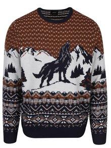 Krémovo-hnědý svetr s motivem vlka Burton Menswear London