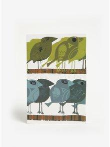 Zápisník s motívom vtákov v zelenej a modrej farbe Magpie Family of Birds
