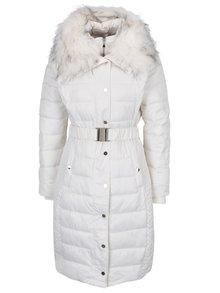 Krémový zimný prešívaný kabát s umelou kožušinou Miss Selfridge