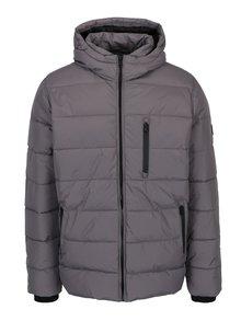 Šedá prošívaná bunda s kapucí Burton Menswear London