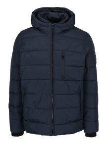Modrá prešívaná bunda s kapucňou Burton Menswear London
