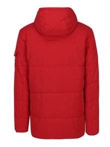 Červená vodovzdorná bunda s umelým kožúškom Burton Menswear London