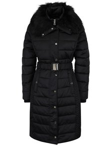 Černý zimní prošívaný kabát s umělou kožešinou Miss Selfridge