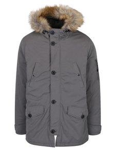 Šedá bunda s umělou kožešinou Burton Menswear London