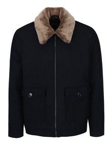 Tmavě modrý krátký vlněný kabát s límcem z umělé kožešiny Burton Menswear London
