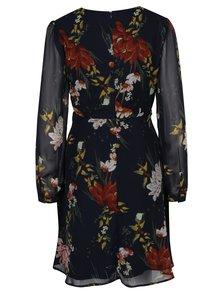 Tmavomodré kvetované šaty s dlhým rukávom ONLY Emma