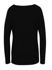 Pulover negru cu maneci raglan si dungi in relief - Haily´s Stella