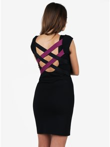Fialovo-čierne puzdrové šaty s pásikmi na chrbte  ZOOT
