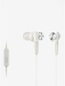 Bílá špuntová sluchátka s mikrofonem Sony Extra Bass