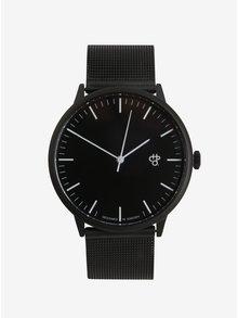 Černé unisex hodinky s nerezovým páskem CHPO Nando Noir
