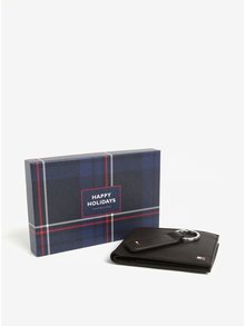 Set pánské kožené peněženky a klíčenky v tmavě hnědé barvě a dárkové krabičce Tommy Hilfiger Eton