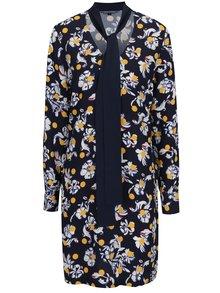 Modré kvetované šaty s viazaním na krku Tommy Hilfiger Mia