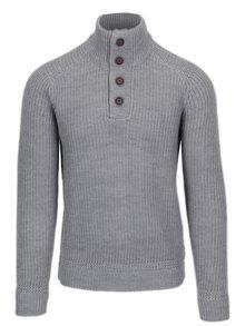 Světle šedý svetr s knoflíky a příměsí vlny Burton Menswear London