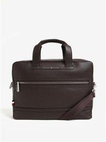 Tmavě hnědá pánská taška na notebook Tommy Hilfiger