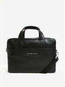 Čierna pánska kožená taška na notebook Tommy Hilfiger