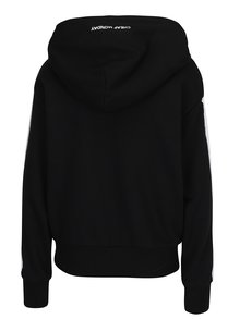 Čierna dámska mikina s kapucňou a pruhmi na rukávoch Cheap Monday