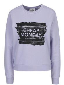 Bluza violet deschis cu print logo Cheap Monday