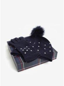 Súprava dámskej čiapky a rukavíc v tmavomodrej farbe v darčekovej škatuľke Tommy Hilfiger
