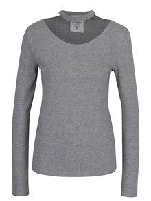 Šedé dámské tričko s chokerem Cheap Monday