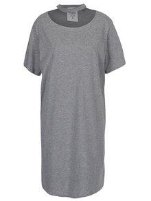 Sivé šaty s krátkym rukávom a chokerom Cheap Monday