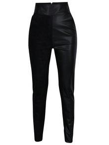 Černé koženkové kalhoty s vysokým pasem Alexandra Ghiorghie Sores