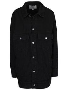Čierna dámska rifľová oversize bunda s potlačou Cheap Monday