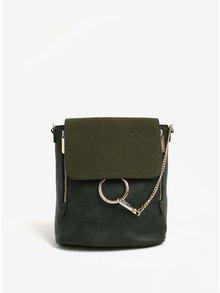 Tmavozelený batoh/kabelka s detailmi v zlatej farbe Bessie London