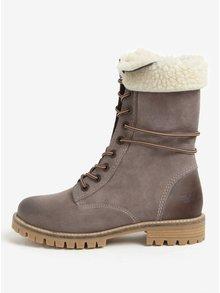 Sivé dámske kožené zimné členkové topánky Weinbrenner