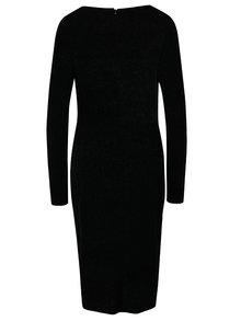 Černé třpytivé šaty s dlouhými rukávy Dorothy Perkins Tall