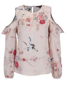 Bluza roz piersica cu print floral si volane Dorothy Perkins