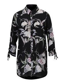 Camasa neagra cu print floral si buzunar Dorothy Perkins