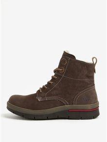 Hnědé dámské kožené zimní boty Weinbrenner