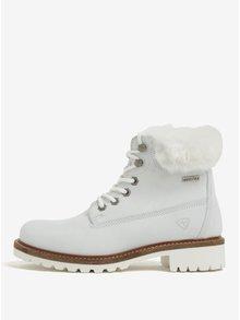 Bílé voděodpudivé zimní kotníkové kožené boty s vlněnou podšívkou Tamaris