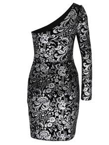 Černé asymetrické šaty s celopotiskem ve stříbrné barvě Dorothy Perkins