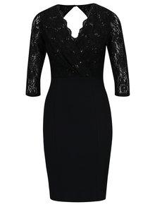 Černé krajkové šaty s překládaným výstřihem Dorothy Perkins