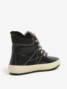 Čierne dámske kožené zateplené členkové topánky GANT Amy