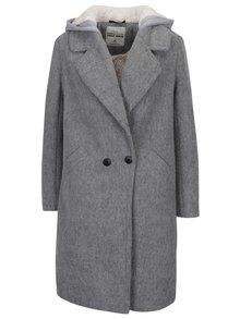 Palton din amestec de lana gri deschis cu gluga si buzunare - TALLY WEiJL