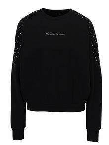 Bluza sport neagra cu aplicatii decorative si mesaj brodat - TALLY WEiJL