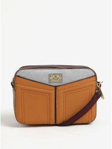 Šedo-hnědá crossbody kabelka s detaily ve zlaté barvě Bessie London